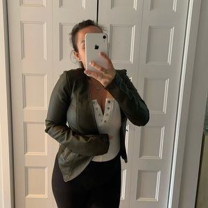 Faux leather khaki blazer/jacket
